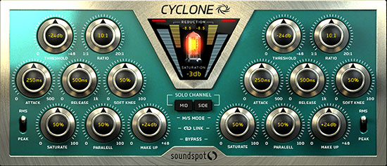 Cyclone mastering plugin user interface for Logic Pro X, Ableton Live, Cubase, FL Studio and Pro Tools